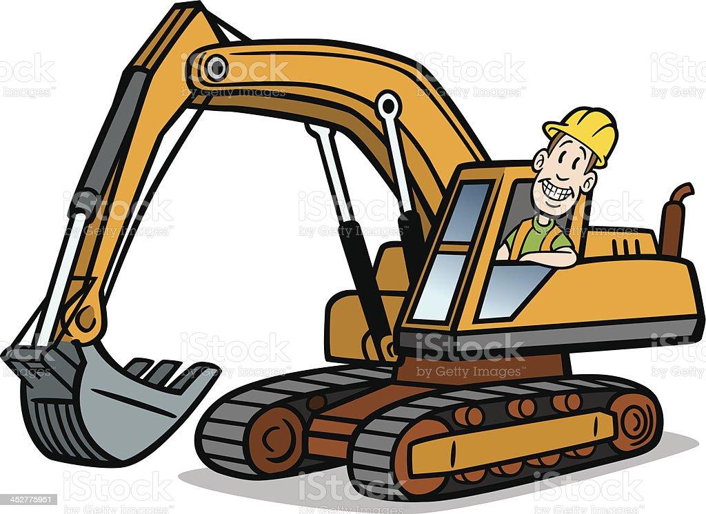 Bauarbeiter bei der arbeit comic  Comic Mann Auf Excavator Vektor Illustration 452775951 | iStock