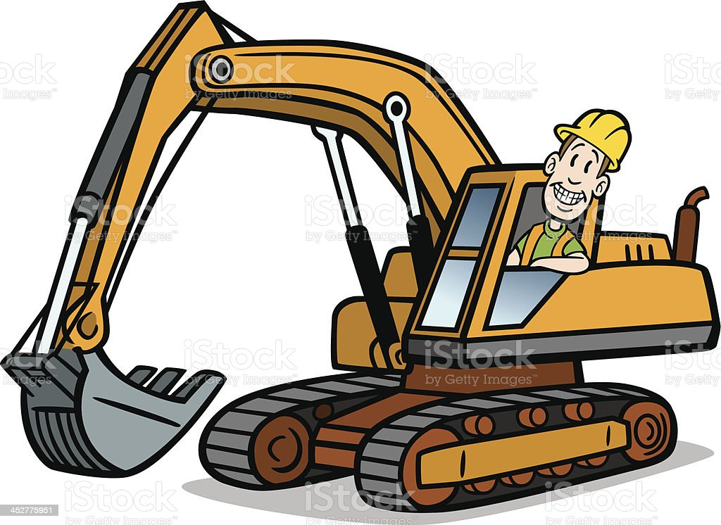 Cartoon Guy On Excavator vector art illustration