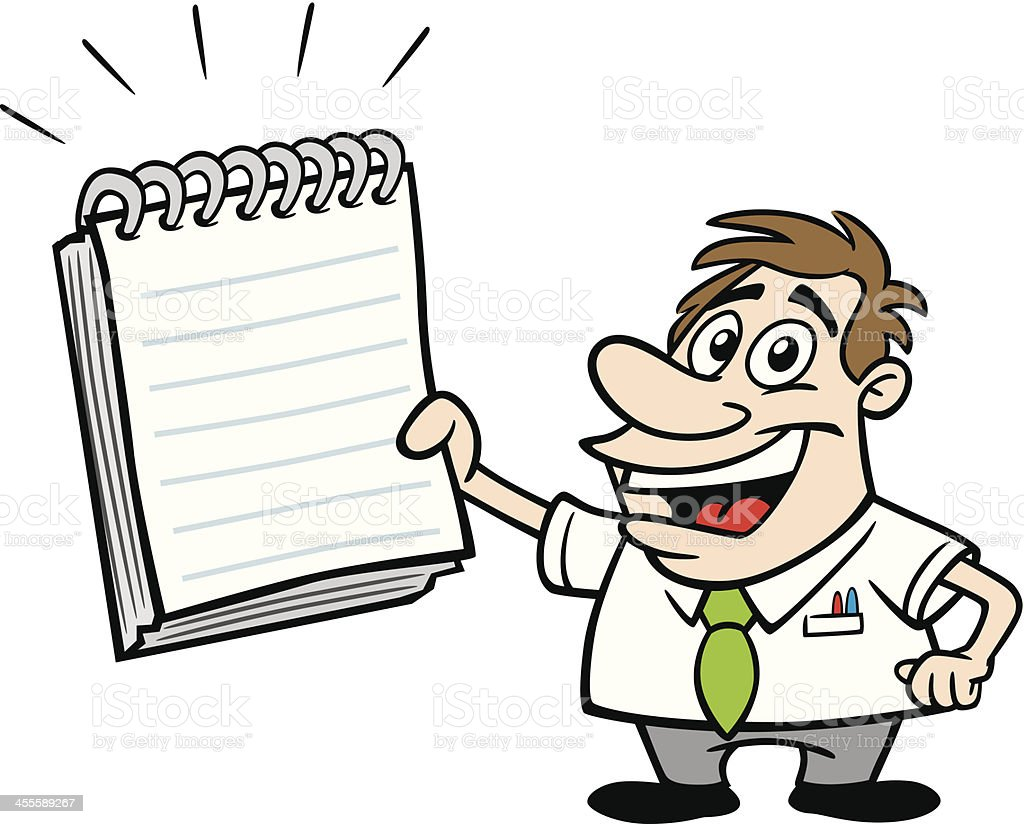 Cartoon Guy With Note Pad vector art illustration