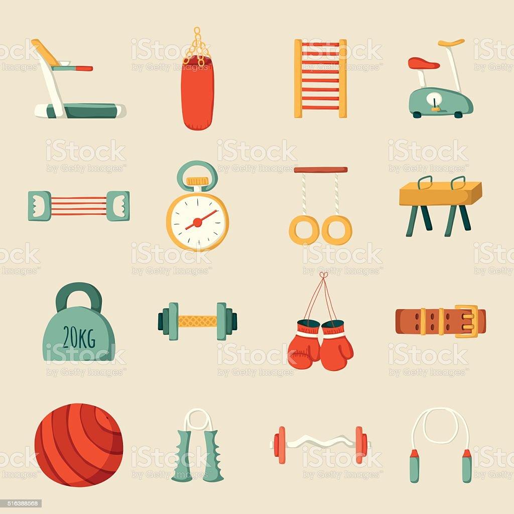 Cartoon gym icons vector art illustration