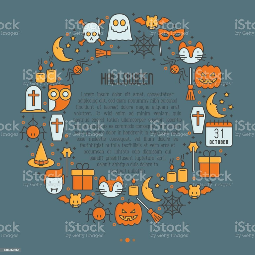 Cartoon Halloween concept in circle with thin line icons: vampire, bat, pumpkin, . Vector illustration for invitation card, party announcement. vector art illustration