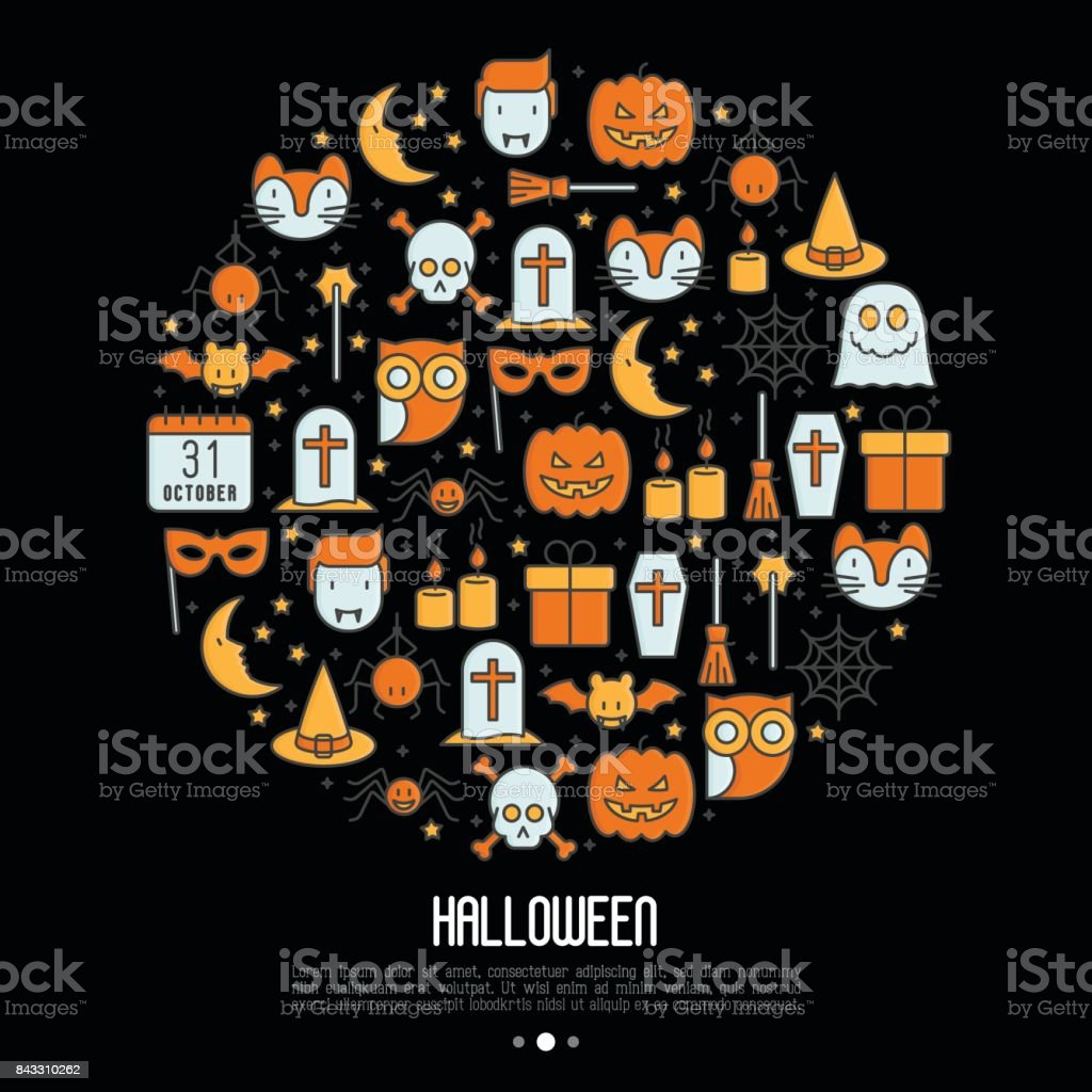 Cartoon Halloween concept in circle with thin line icons: vampire, bat, pumpkin. Vector illustration for invitation card, party announcement. vector art illustration