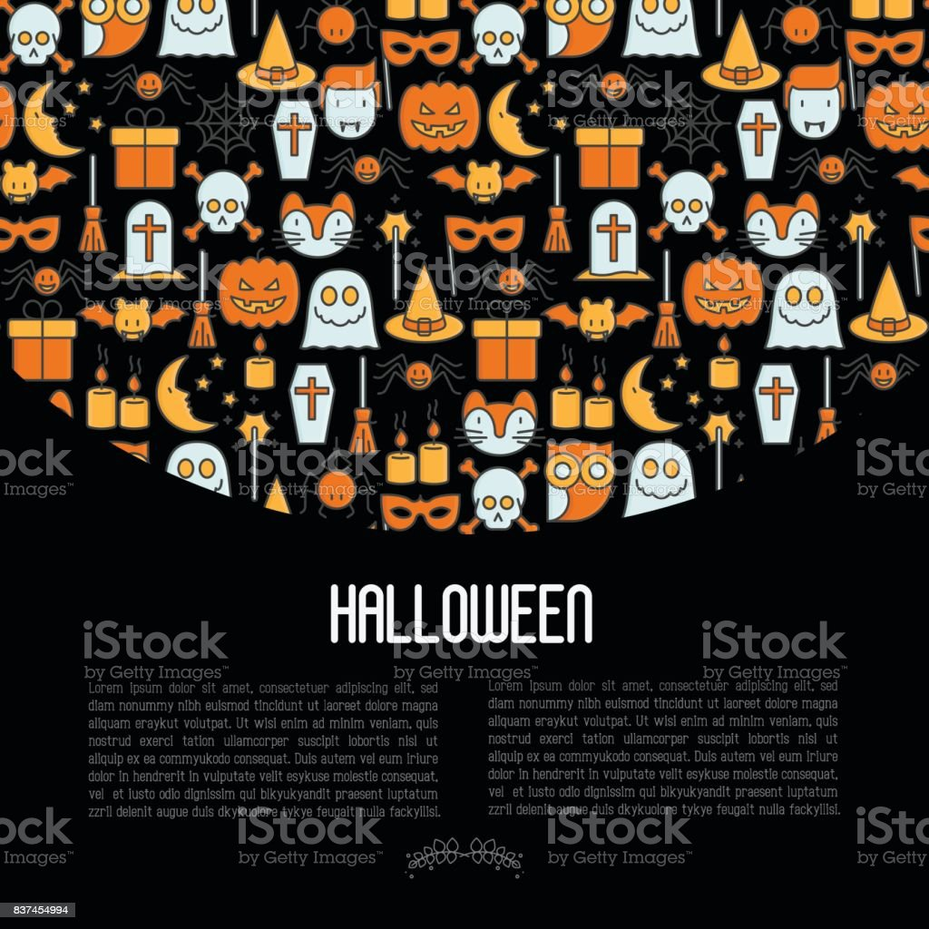 Cartoon Halloween concept with thin line icons: . Vector illustration for invitation card, party annoucement. vector art illustration
