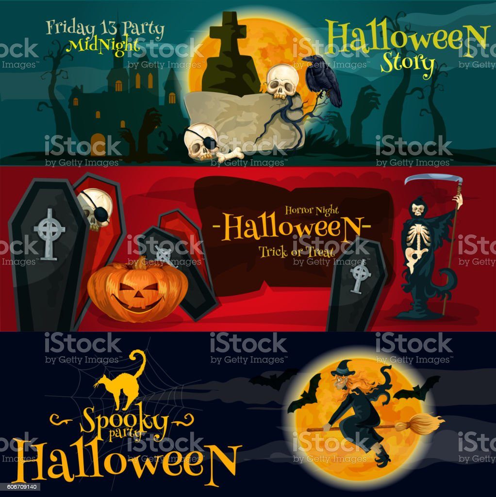 Cartoon Halloween party banners and posters vector art illustration