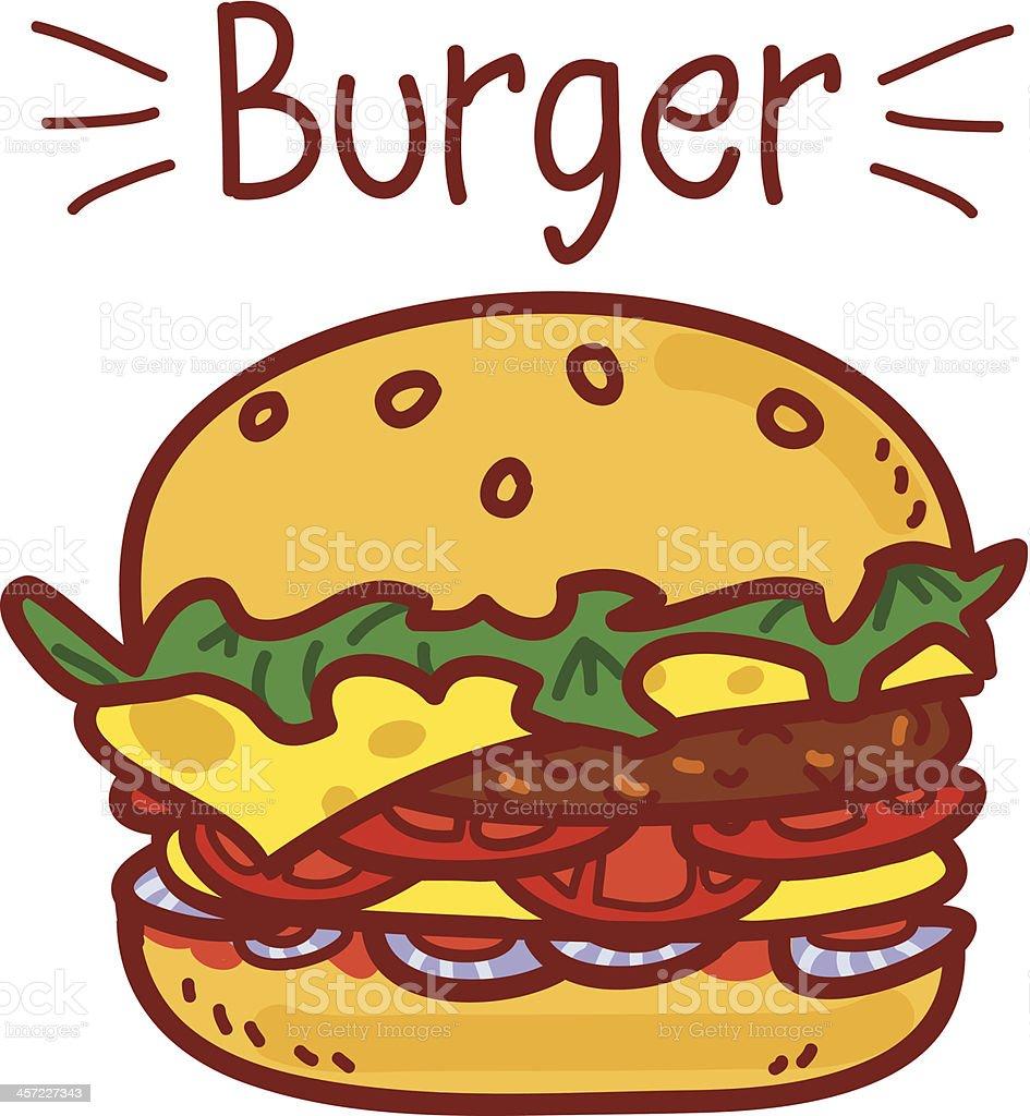 Cartoon hamburger on white with the inscription royalty-free stock vector art