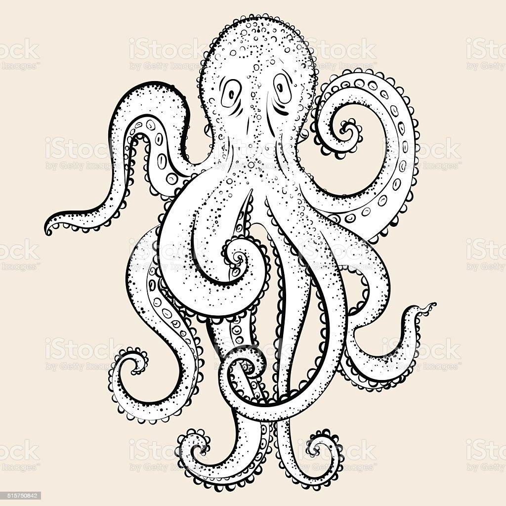 Cartoon hand drawing octopus. vector art illustration