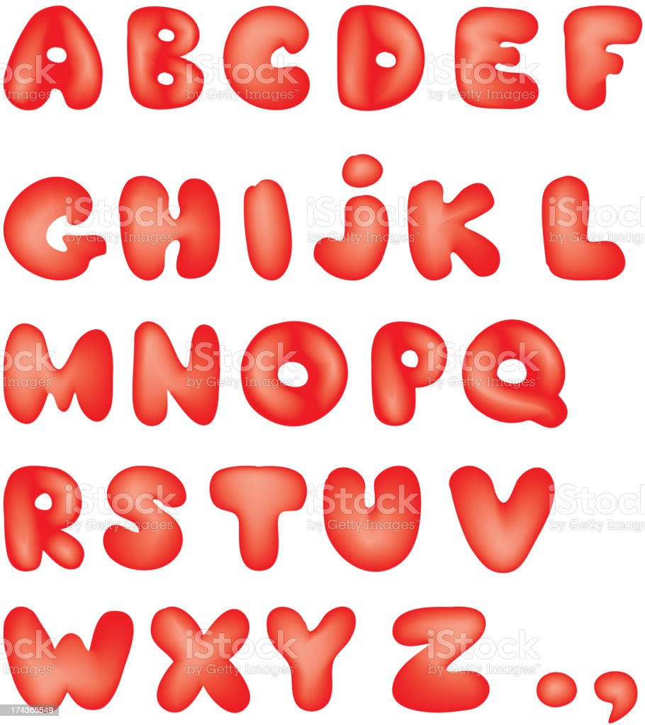 Cartoon Hand Drawn Alphabet royalty-free stock vector art