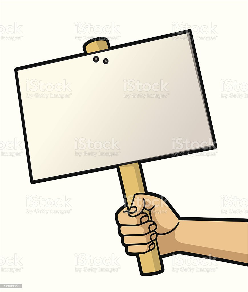 Cartoon hand holding up a blank hand held sign royalty-free stock vector art