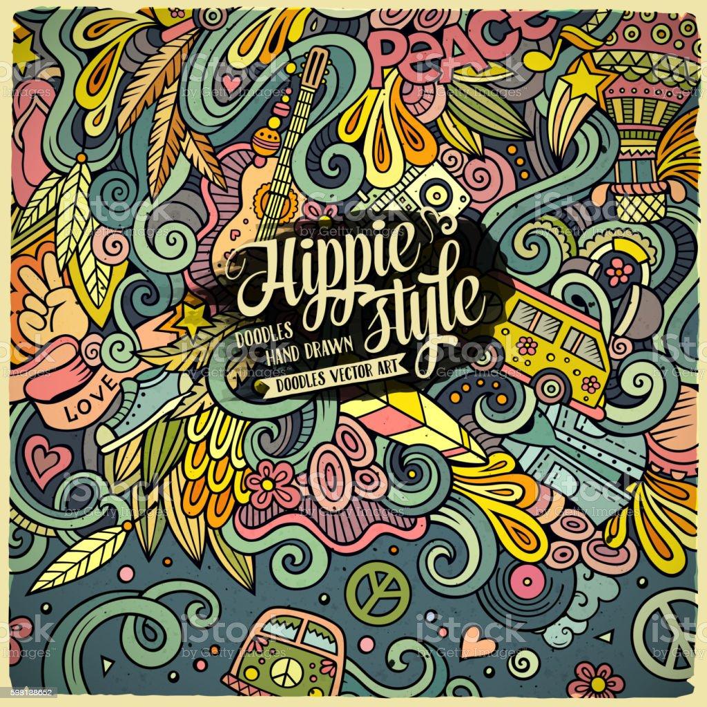 Cartoon hand-drawn doodles hippie illustration vector art illustration