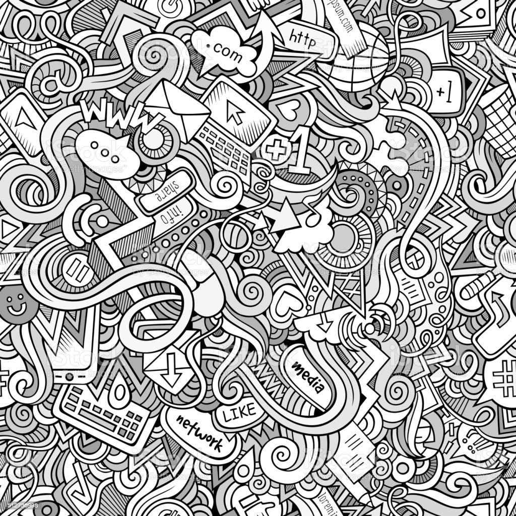 Cartoon hand-drawn doodles Internet social seamless pattern vector art illustration