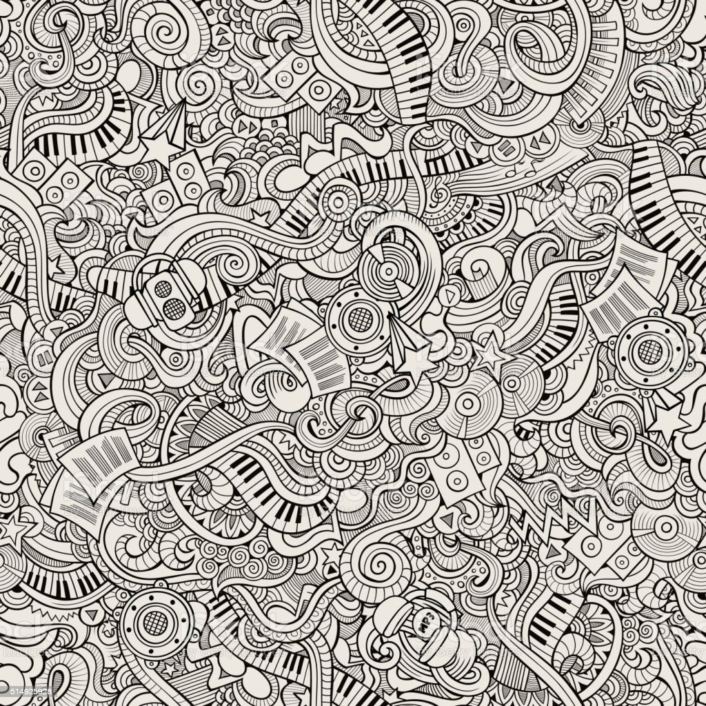 Cartoon hand-drawn doodles music seamless pattern vector art illustration