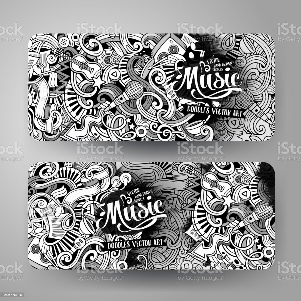 Cartoon hand-drawn doodles Musical banners vector art illustration