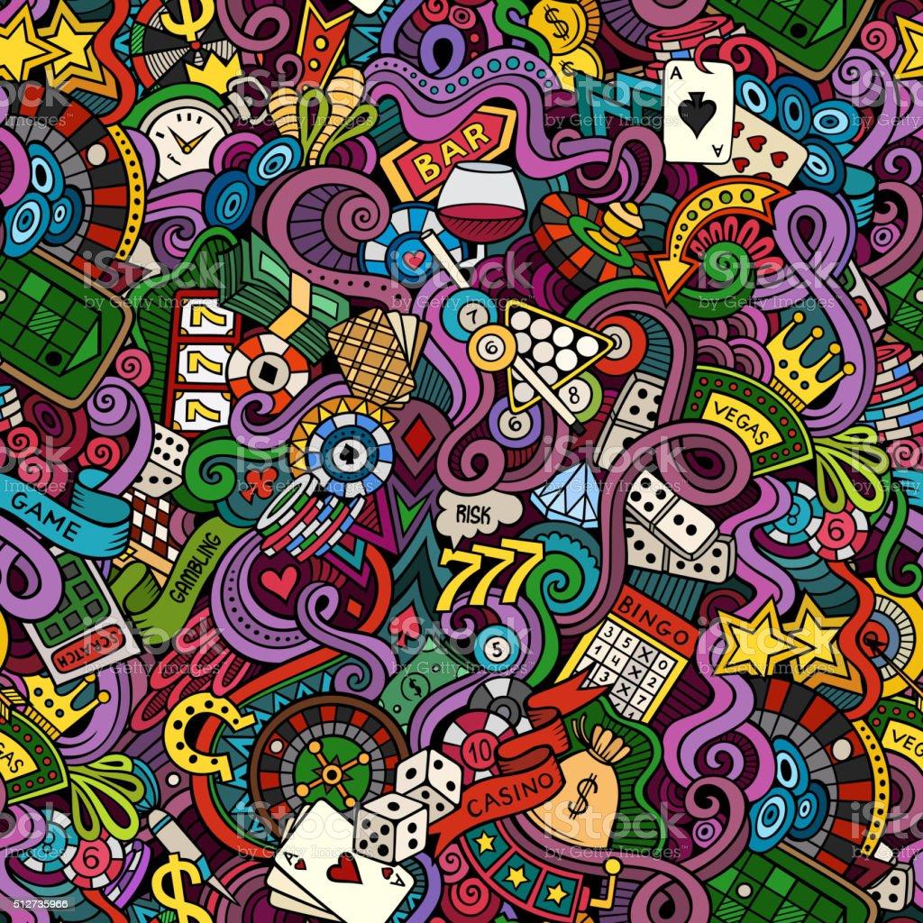Cartoon hand-drawn doodles on the subject of casino style vector art illustration