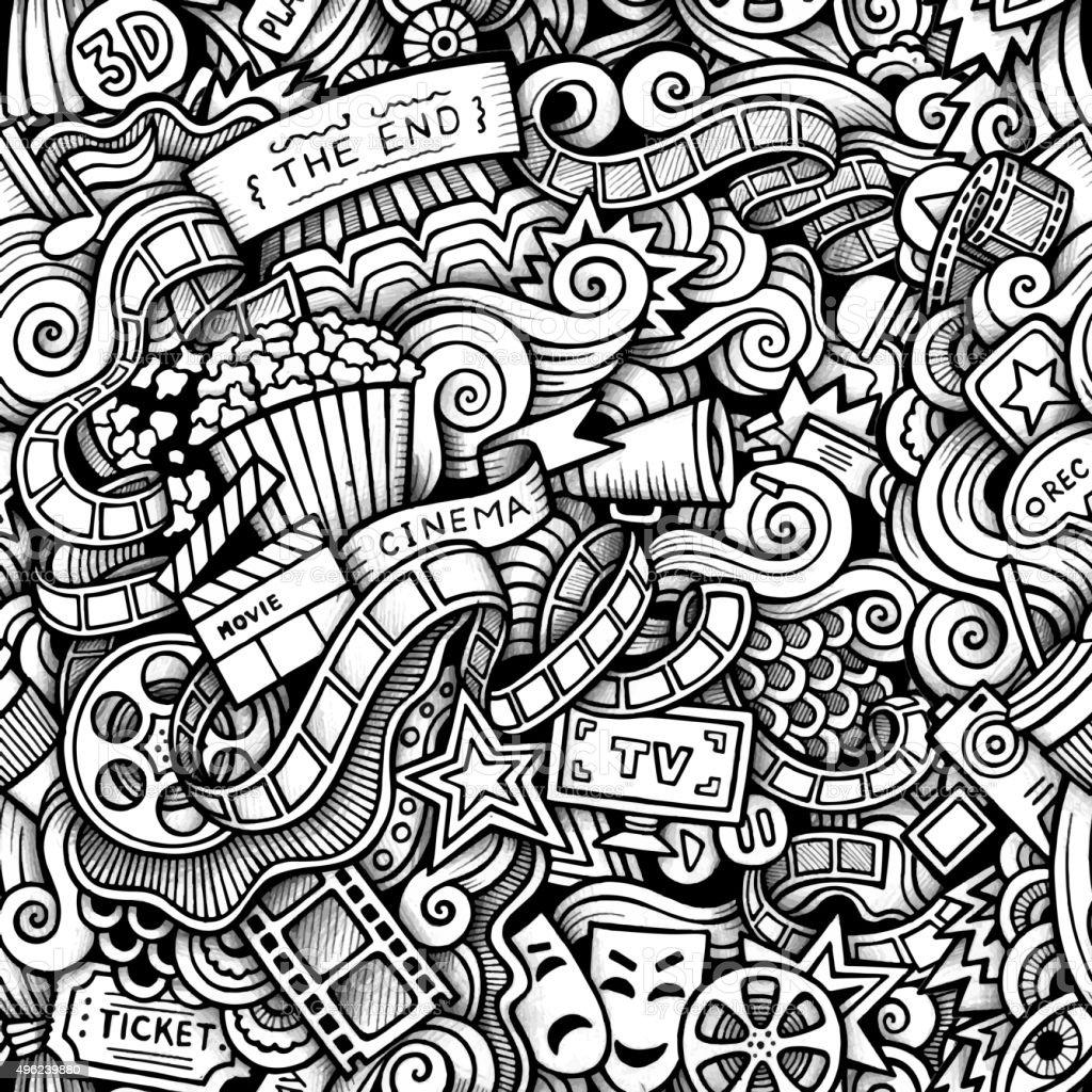 Cartoon hand-drawn doodles on the subject of Cinema style theme vector art illustration