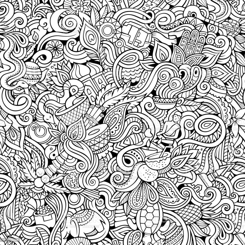 Cartoon hand-drawn doodles on the subject of Indian seamless pattern vector art illustration
