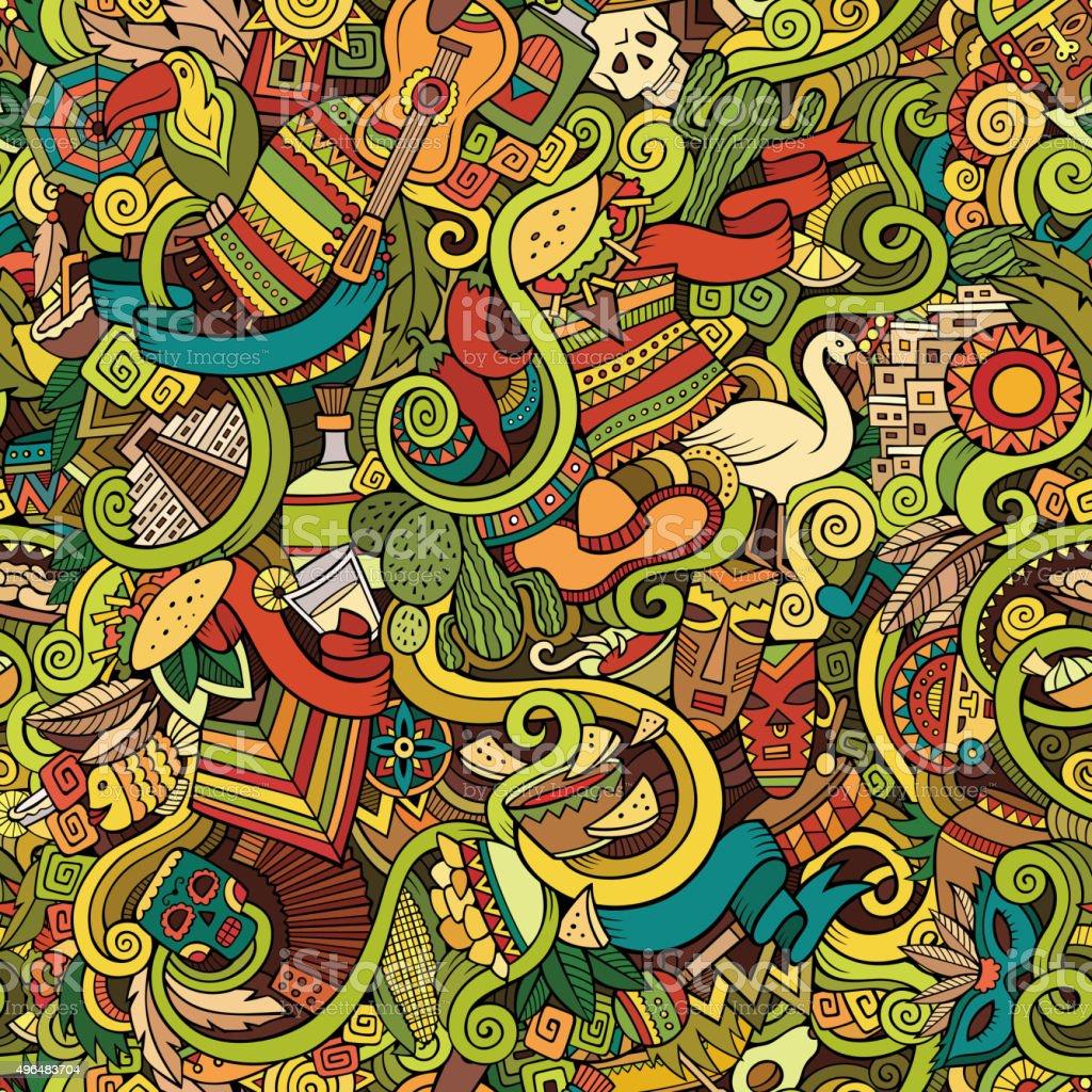 Cartoon hand-drawn Doodles on the subject of Latin America vector art illustration