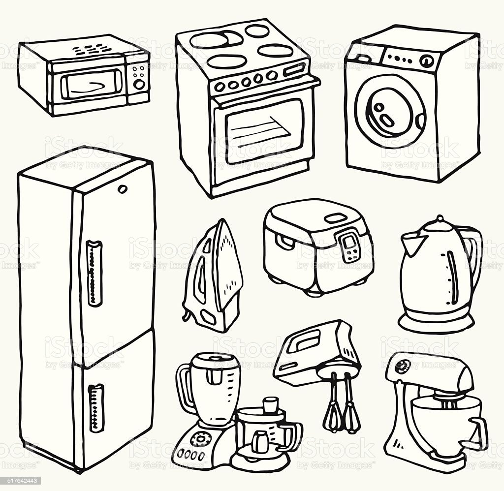 Cartoon hand-drawn household appliances for cooking and cleaning vector art illustration