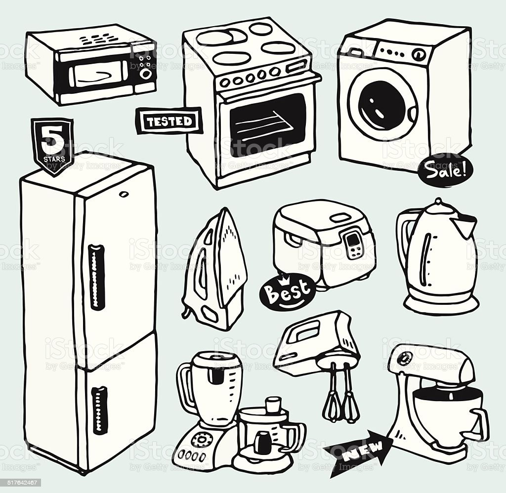 Cartoon kitchen appliances - Cartoon Hand Drawn Household Appliances For Cooking And Cleaning Royalty Free Stock Vector Art