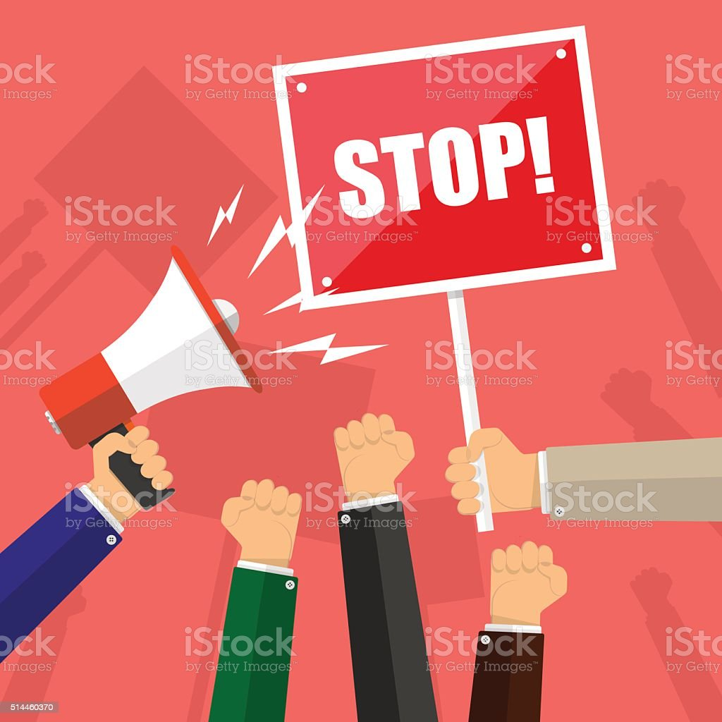 Cartoon hands of demonstrants, hand with Megaphone and stop sign vector art illustration