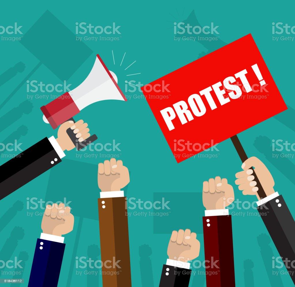 Cartoon hands of demonstrants vector art illustration