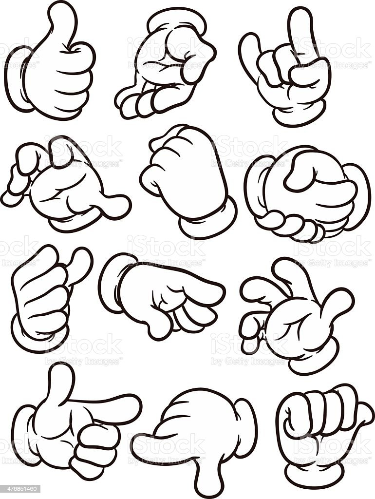 Cartoon hands vector art illustration
