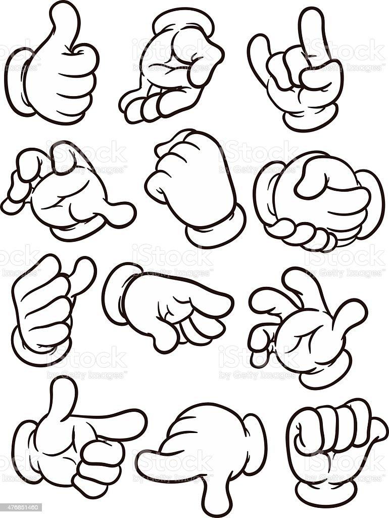 Cartoon hands vector art illustration