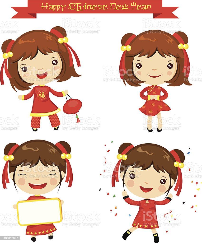 Cartoon Happy Chinese New Year royalty-free stock vector art