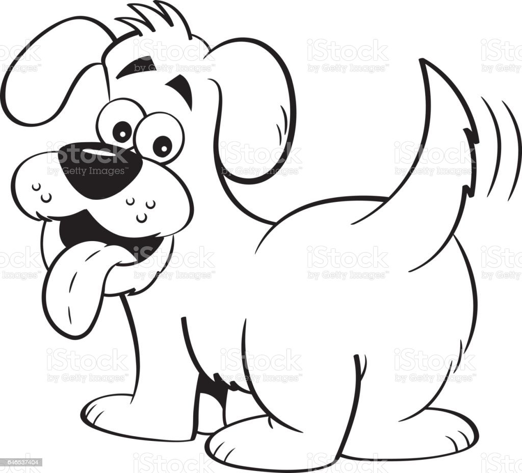 Cartoon happy dog looking backwards. vector art illustration