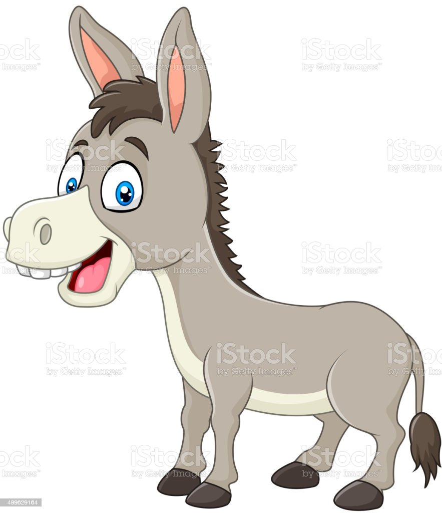 Cartoon happy donkey isolated on white background vector art illustration