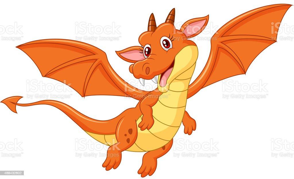 Cartoon happy dragon vector art illustration