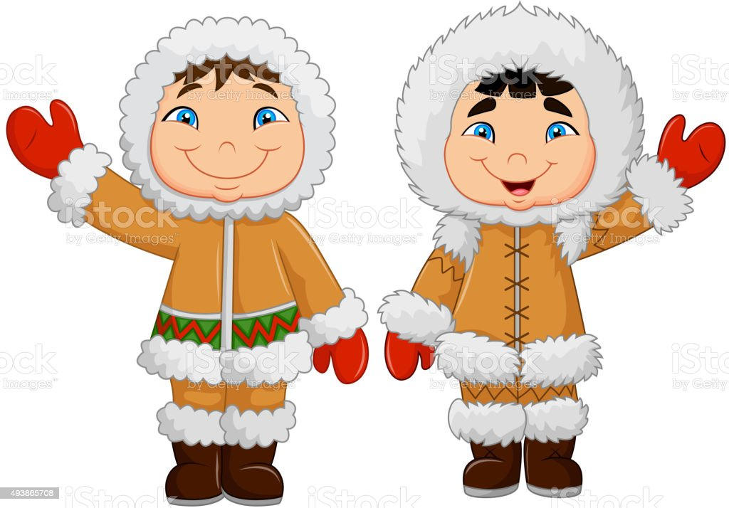 Cartoon happy Eskimo kids waving hand vector art illustration