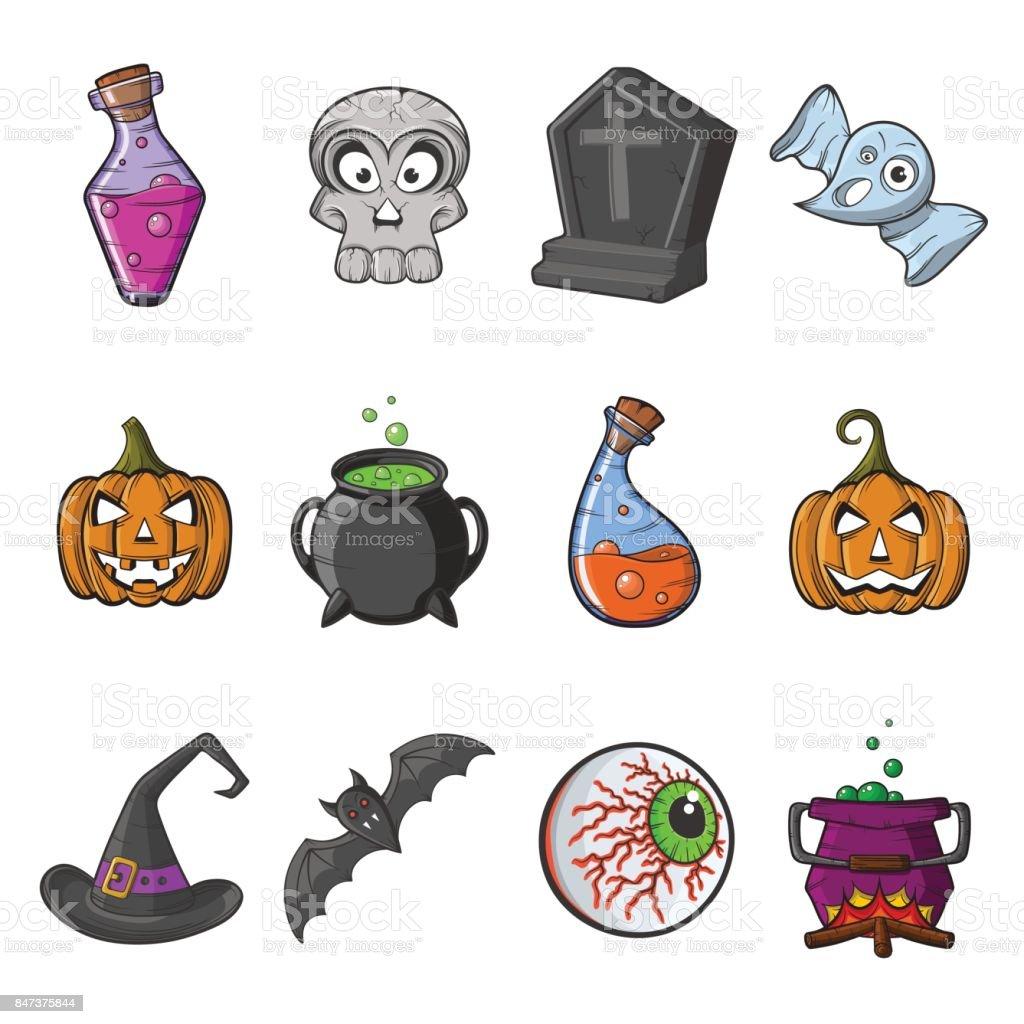 cartoon Happy Halloween set of vector icons vector art illustration