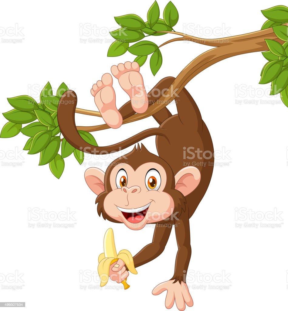 Cartoon happy monkey hanging and holding banana vector art illustration