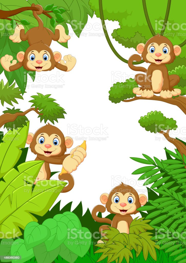 Cartoon happy monkey in the forest vector art illustration