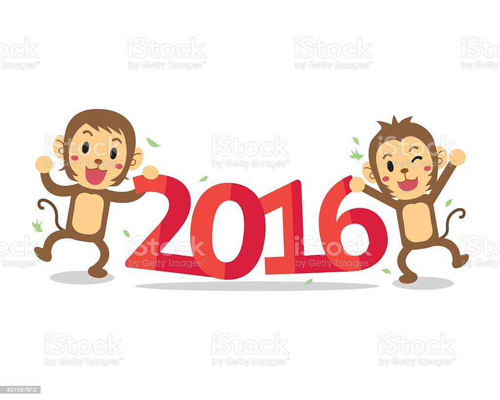 Cartoon happy new monkey year 2016 vector art illustration
