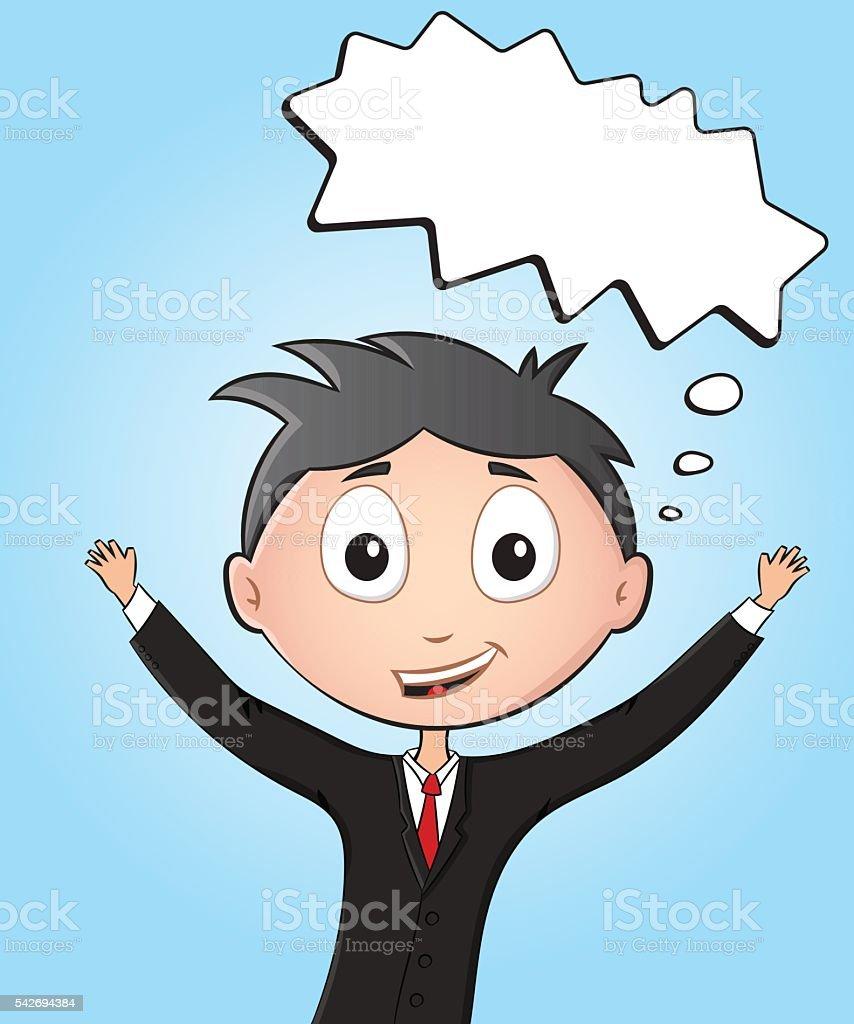 Cartoon happy office worker screaming with joy vector art illustration