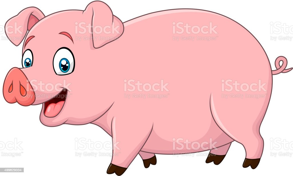 Cartoon happy pig isolated on white background vector art illustration