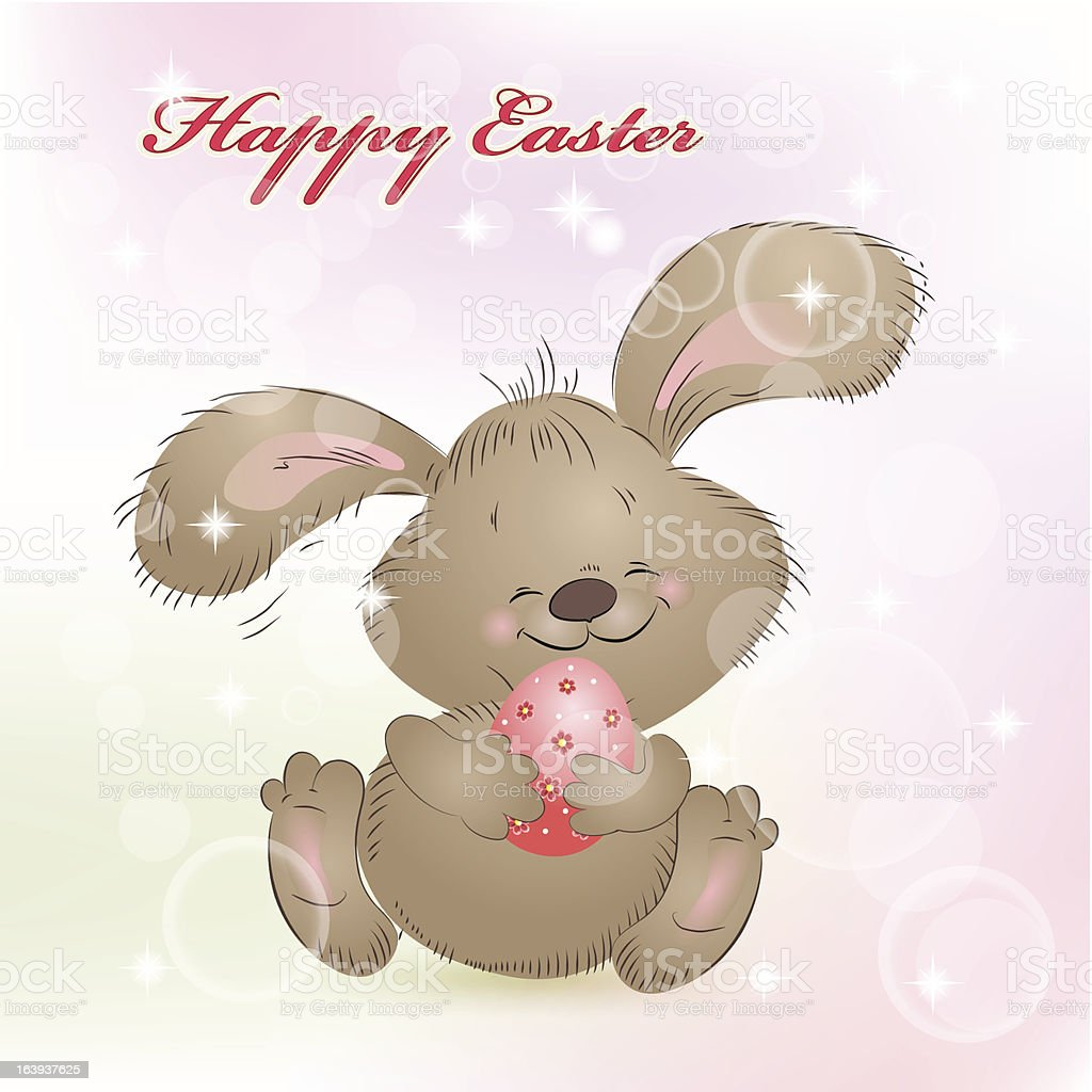 Cartoon happy rabbit for Easter Cards royalty-free stock vector art