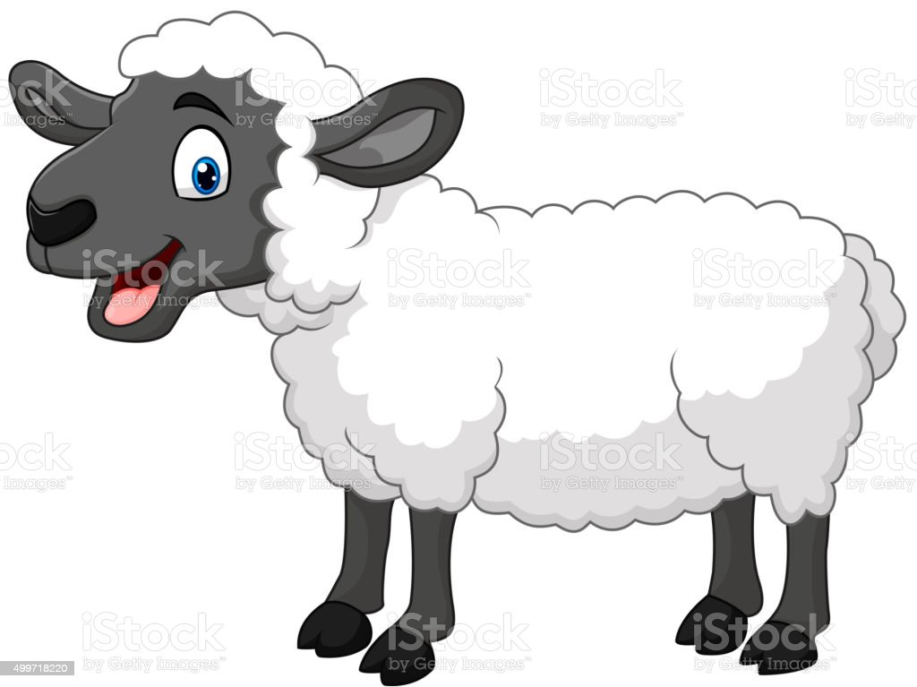 Cartoon happy sheep posing isolated on white background vector art illustration