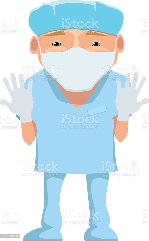 Cartoon happy smiling surgeon with mask and gloves isolated. vector art illustration
