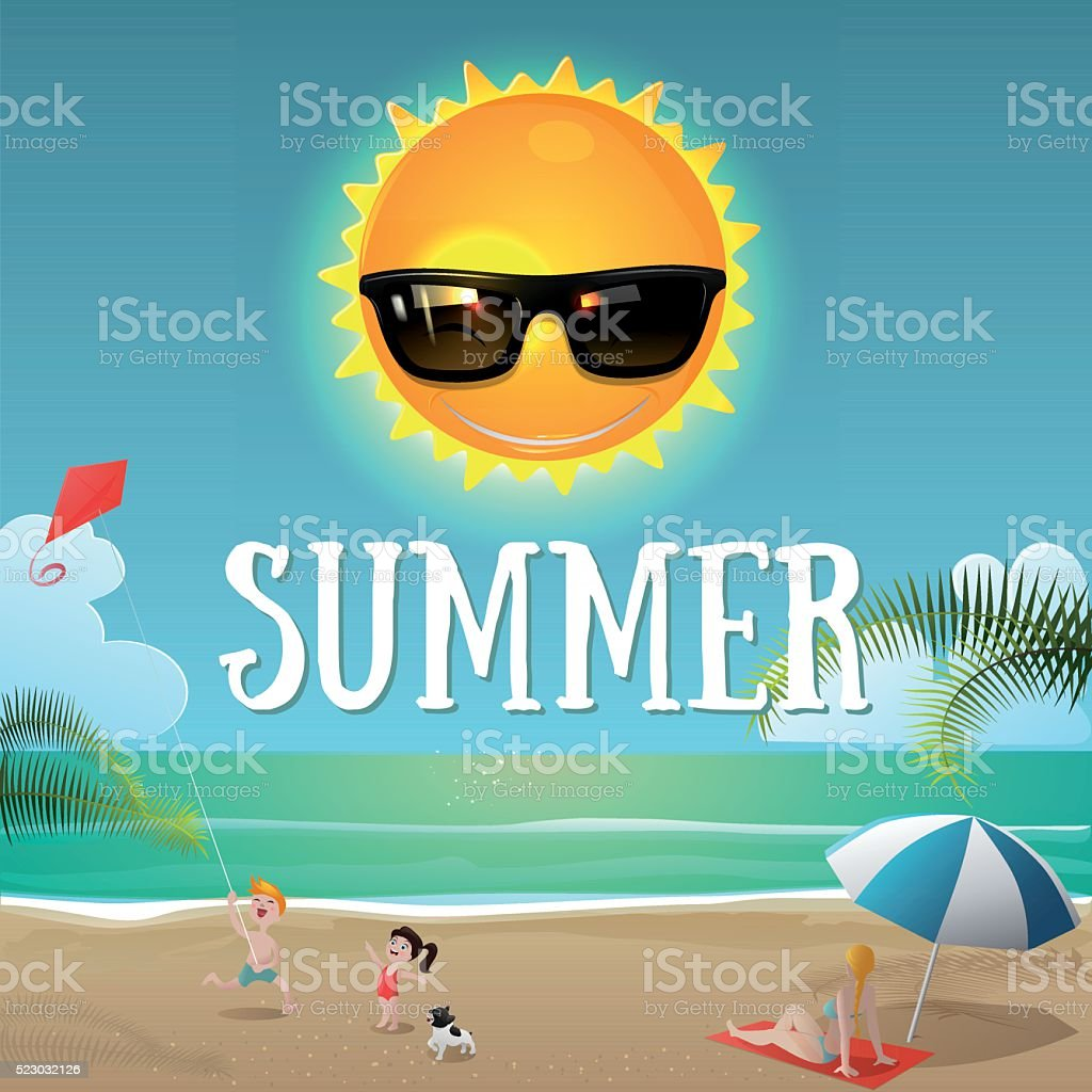 Cartoon happy sun with sunglasses and people in the beach vector art illustration