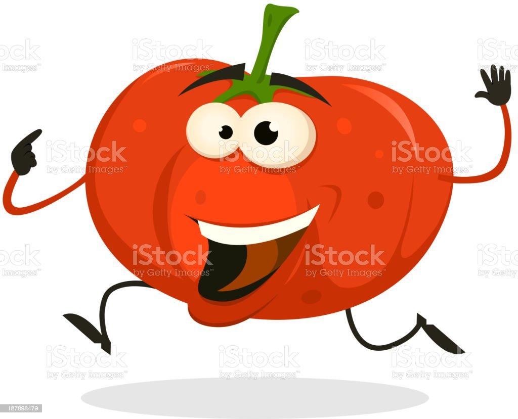 Cartoon Happy tomato Character Running royalty-free stock vector art
