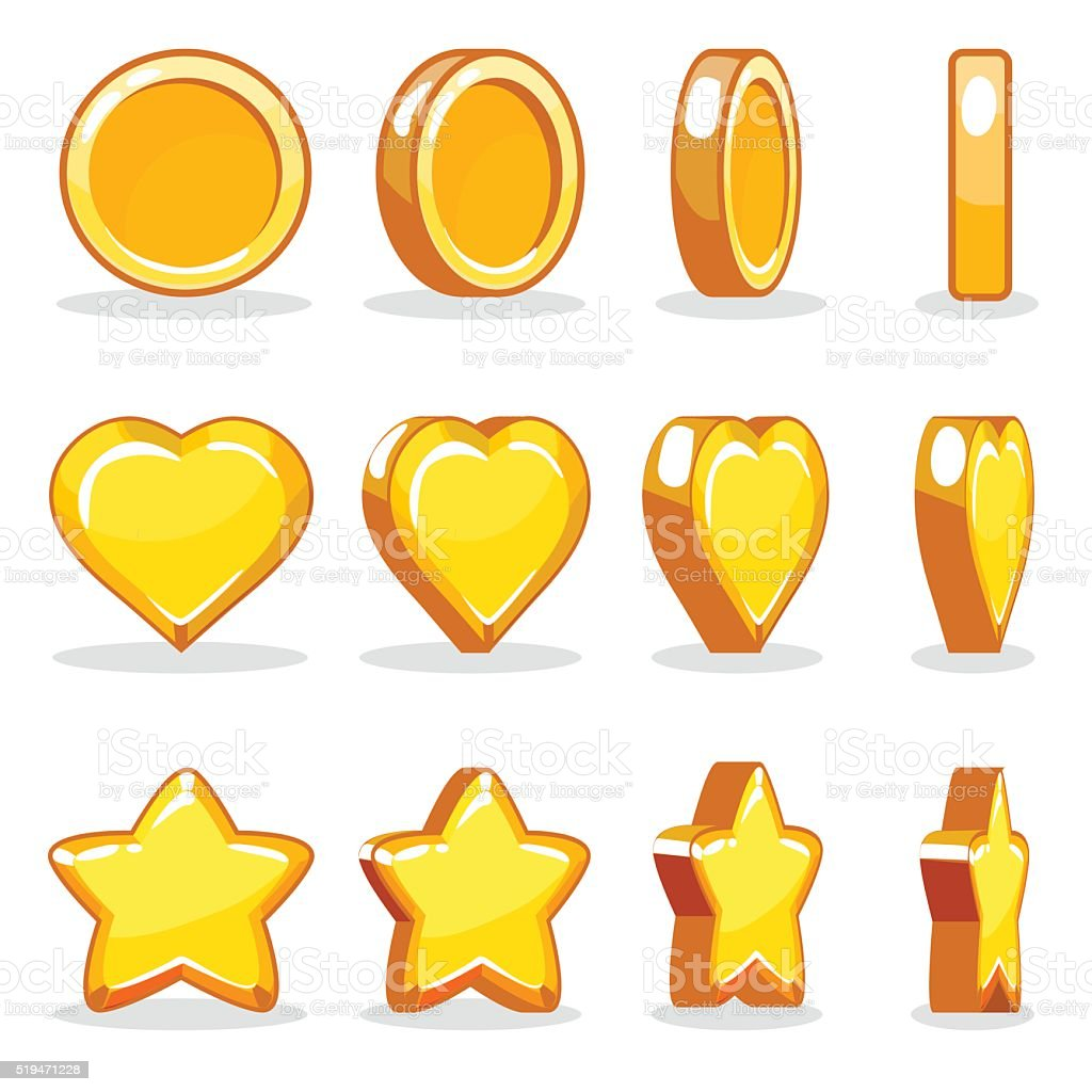 Cartoon heart, coin and star turn-based animation vector art illustration