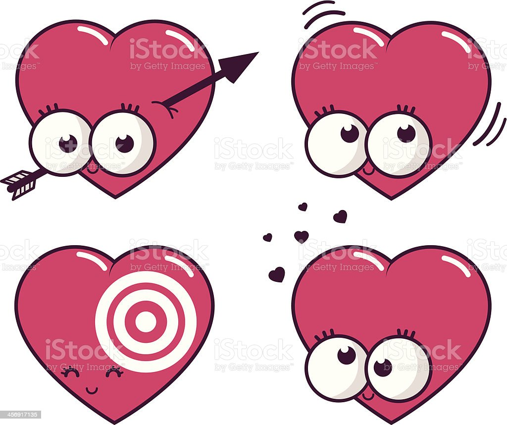 Cartoon hearts in love royalty-free stock vector art