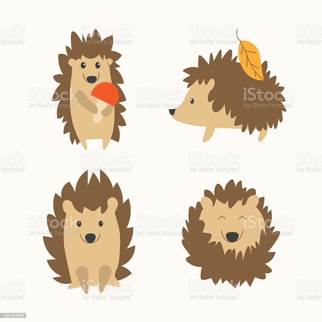 Cartoon Hedgehog Set Vector Stock Vector Art 621497650