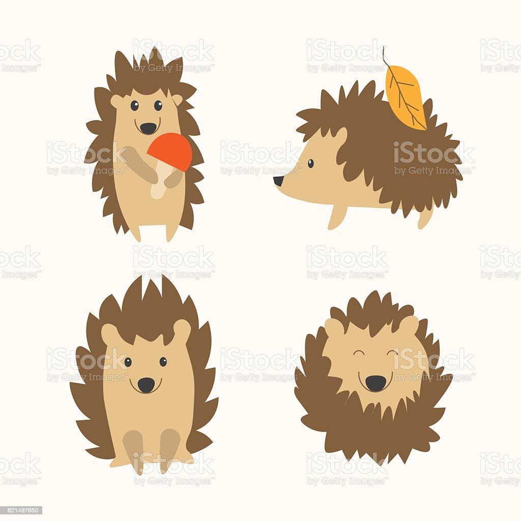 Cartoon Hedgehog Set. Vector vector art illustration