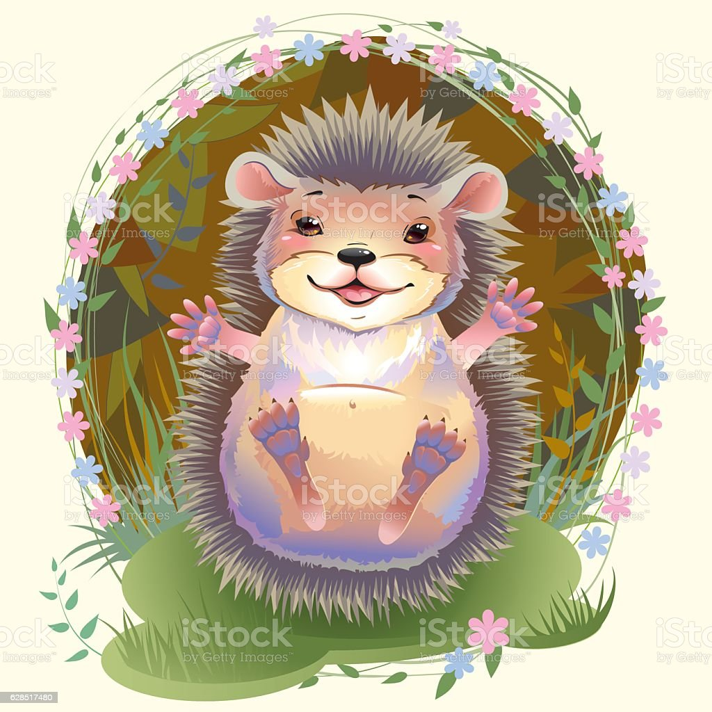 cartoon hedgehog vector art illustration