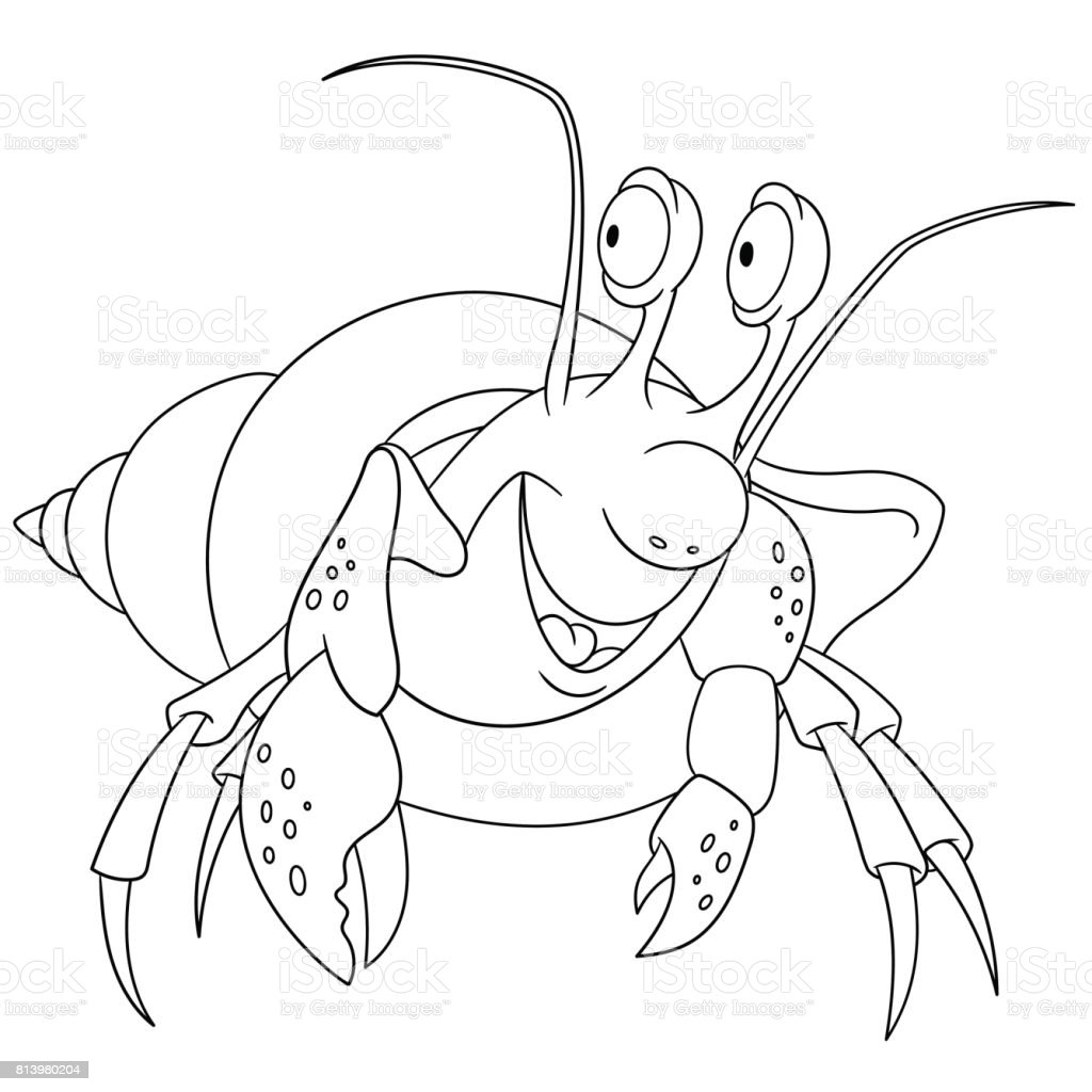 Cartoon Hermit Crab Coloring Page Royalty Free Stock Vector Art