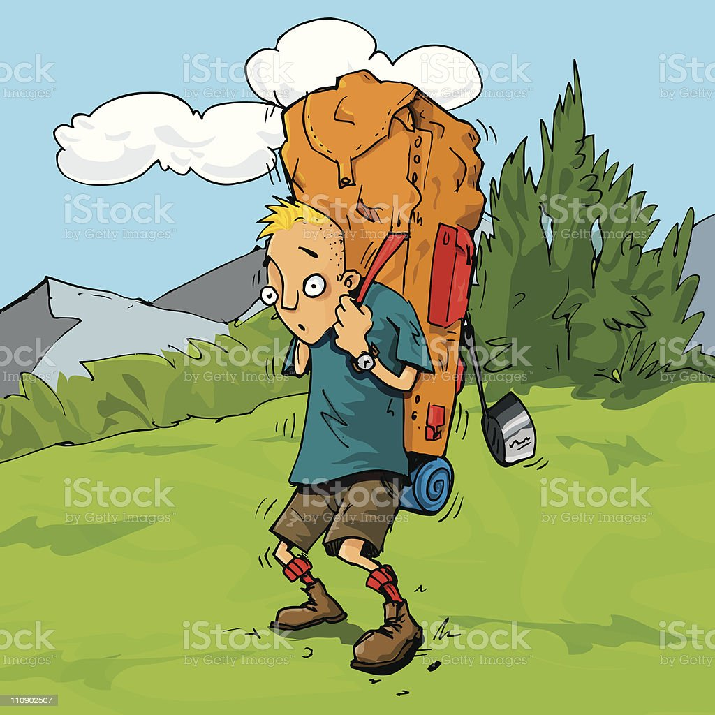 Cartoon Hiker weighed down by his heavy backpack royalty-free stock vector art