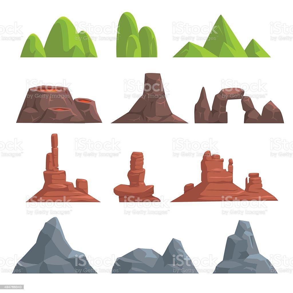 Cartoon hills and mountains set vector art illustration